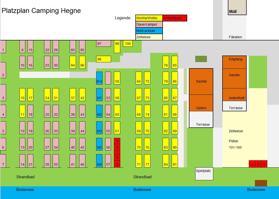 Platzplan Camping Hegne