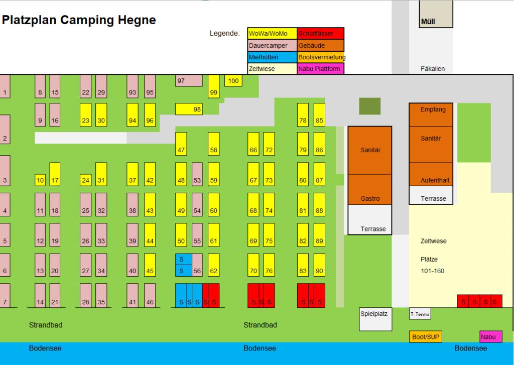 Platzplan Camping Hegne 2019