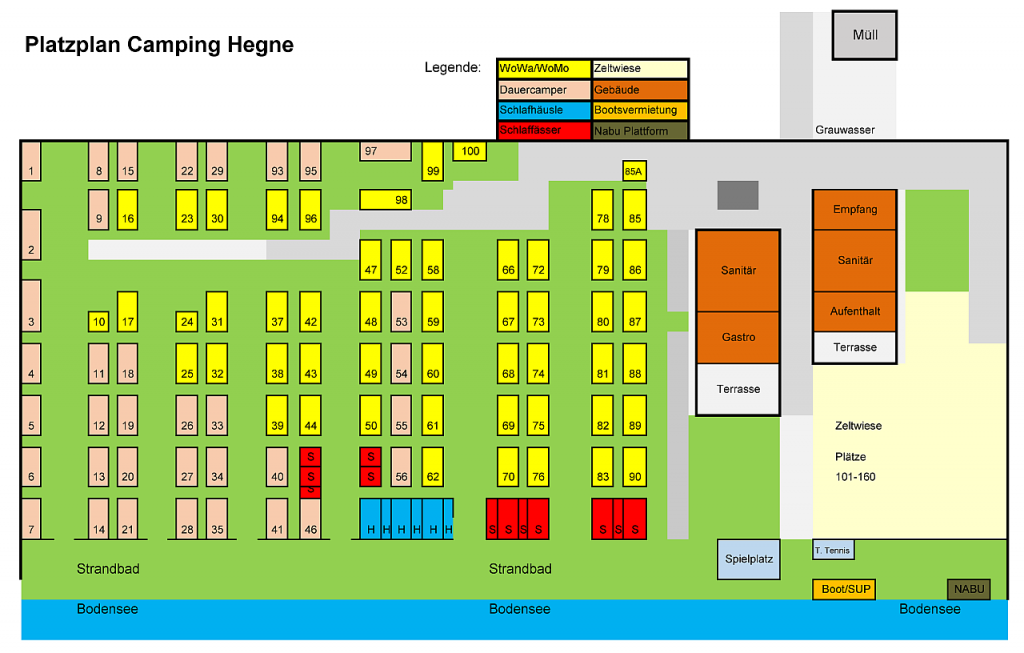 Platzplan Camping Hegne 2020